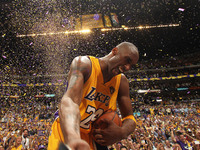 Kobe Bryant of the Los Angeles Lakers celebrates after winning over the Boston Celtics in Game Seven of the 2010 NBA Finals on June 17, 2010 at Staples Center in Los Angeles.
