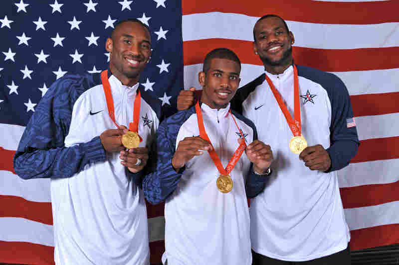 From left, Bryant, Chris Paul and LeBron James of the U.S. Men's National Team pose for a portrait after defeating Spain 118-107 in the men's gold medal basketball game at the 2008 Beijing Olympic Games.