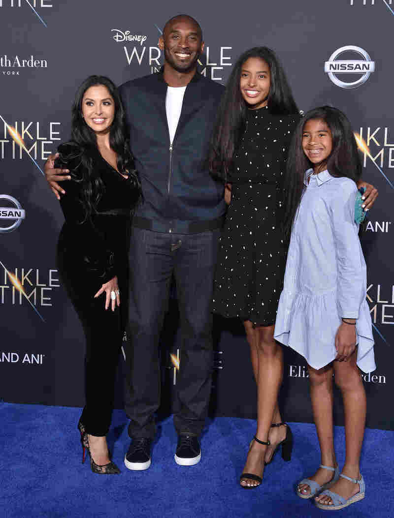 Bryant and his wife, Vanessa Laine Bryant, appear with daughters Natalia Diamante Bryant and Gianna Maria-Onore Bryant at the premiere of Disney's 'A Wrinkle In Time' at El Capitan Theatre on Feb. 26, 2018 in Los Angeles.
