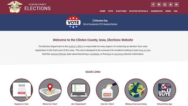The home page for the elections website in Clinton County, Iowa. Although the website is sleekly designed, it is housed on a .com, and not on the recommended .gov, top-level domain.