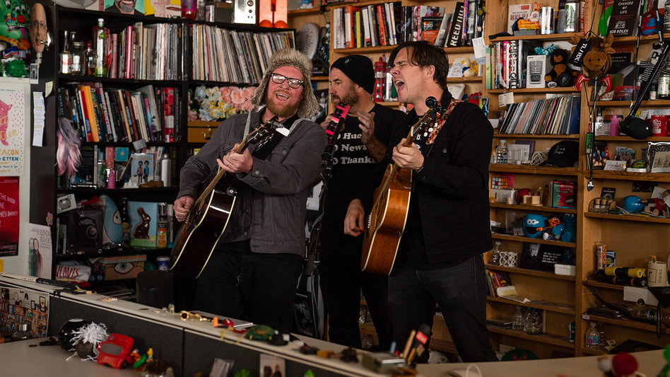 Jimmy Eat World performs during a Tiny Desk concert, on Dec. 6, 2019. (Catie Dull/NPR)