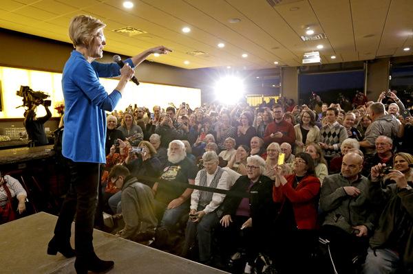 Sen. Elizabeth Warren of Massachusetts speaks to a crowd in Council Bluffs, Iowa.
