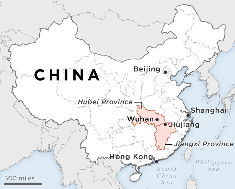 Locator map of China and Wuhan region.