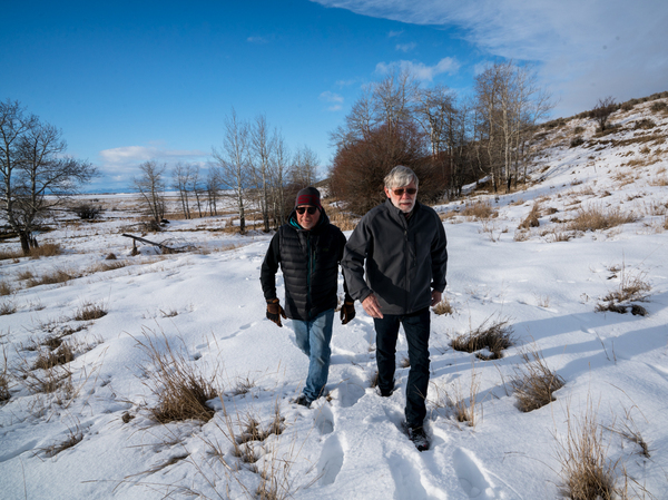 John Kowalski (left) and Paul Roos, retired hunting and fishing guides and conservationists, worked to secure the funding necessary to restore the wetlands surrounding Nevada Spring Creek through a private mitigation bank.