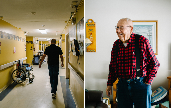 Left, Hurst performs his rounds at the Northcrest Living Center. Among his patients is Lyle Rodenburg, right.