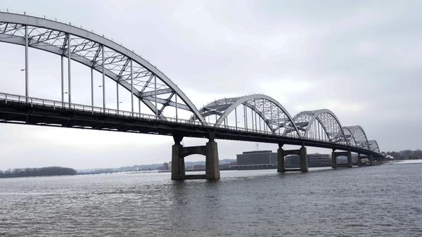 The Centennial Bridge over the Mississippi River connecting Davenport, Iowa and Rock Island, Illinois. Davenport