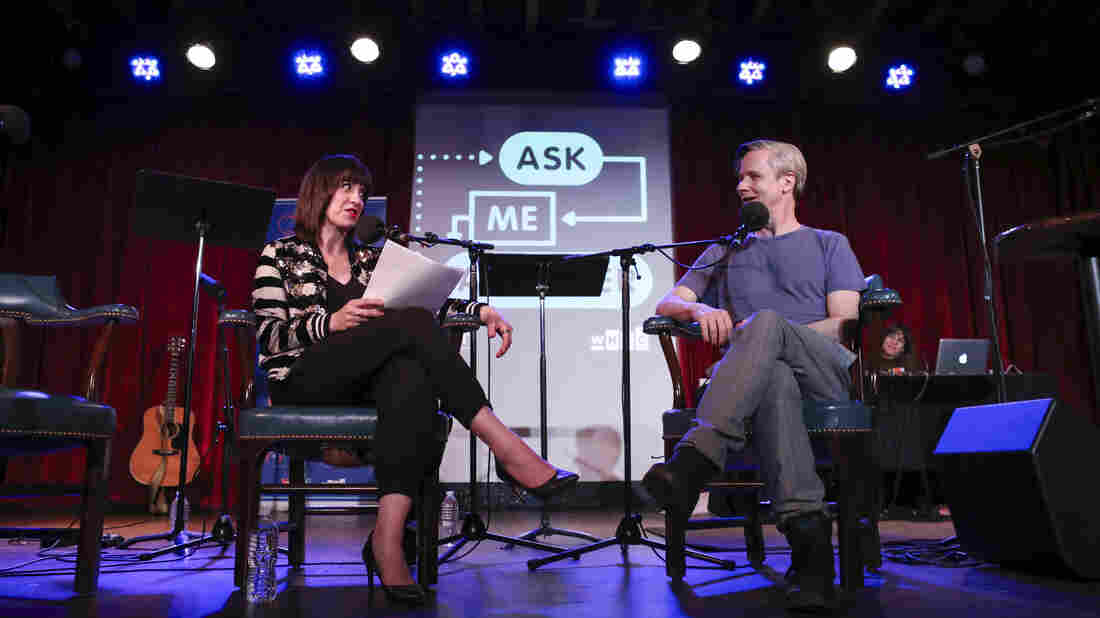 Ophira Eisenberg and John Cameron Mitchell on Ask Me Another at the Bell House in Brooklyn, New York.