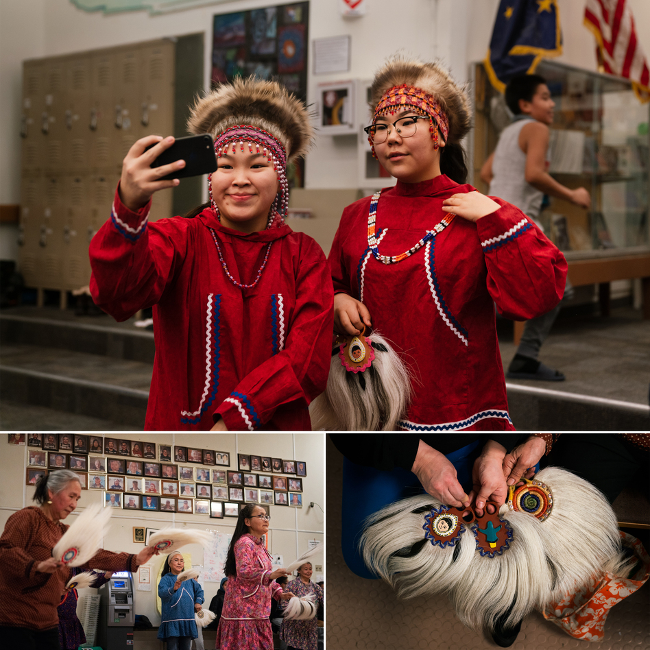 Top: Keziah Therchik (left) and Angel Charles take a selfie before performing Yup'ik dancing in Toksook Bay. Left: Dora Nicholai (in pink) dances at a community center, where portraits of the community's elders hang on a wall. Right: Women show Yup'ik dance fans. (Claire Harbage/NPR)