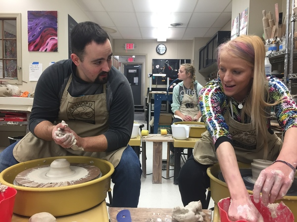 Emily Ligawiec (right) and Officer Jon Cacela take weekly pottery classes together in Ware, Mass. Rather than arrest Ligawiec last winter when she took heroin and stole her mom's car, he offered her help.
