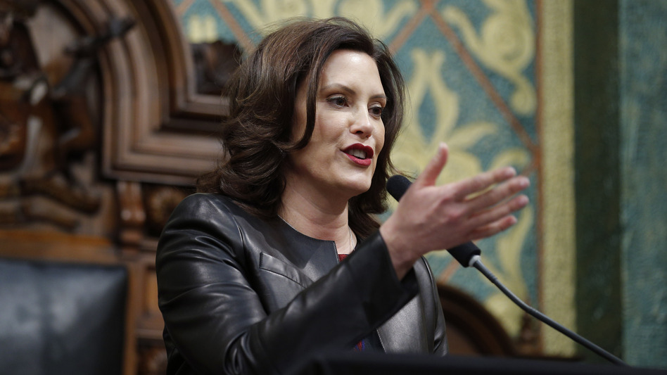 Michigan Gov. Gretchen Whitmer delivers her State of the State address last month. (Al Goldis/AP)