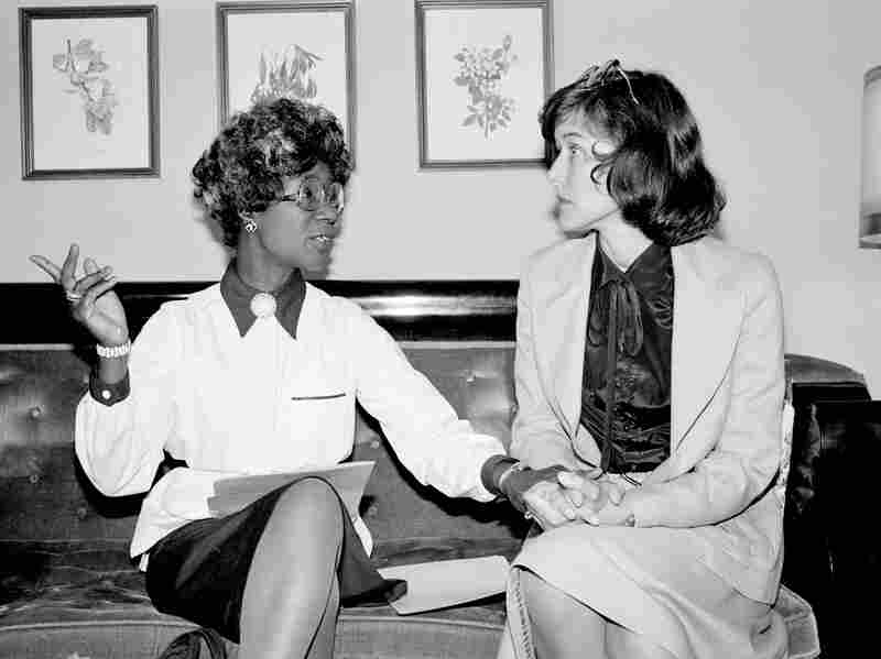U.S. Rep. Shirley Chisholm (left) and Pat Schroeder at a news conference in Washington D.C., July 31, 1979.