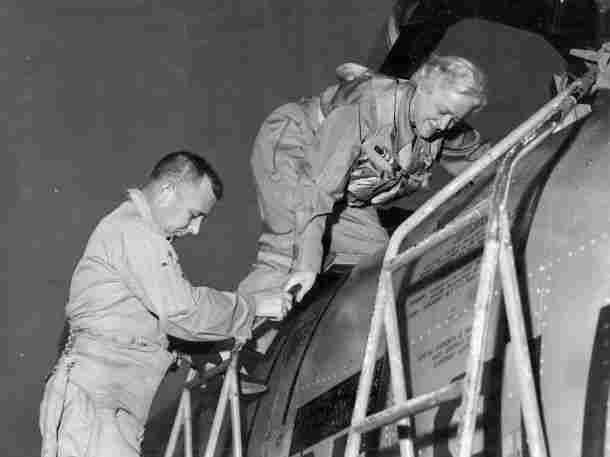 On December 3, 1957, Margaret Chase Smith of Maine suited up in flight gear, donned a parachute and oxygen mask, and climbed into an F-100 Super Sabre jet piloted by Air Force Maj. Clyde Good. Reaching speeds of nearly 1,000 mph, Smith became the first woman in Congress to break the sound barrier.
