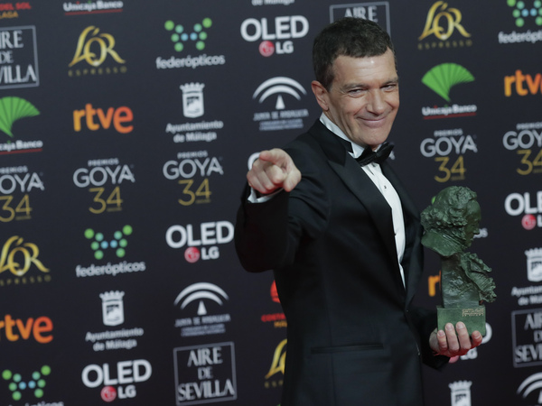 Spanish actor Antonio Banderas is photographed after winning the best leading actor award for Pain and Glory at the Spanish Film Academy's Goya Awards in Málaga, Spain, on Jan. 26.