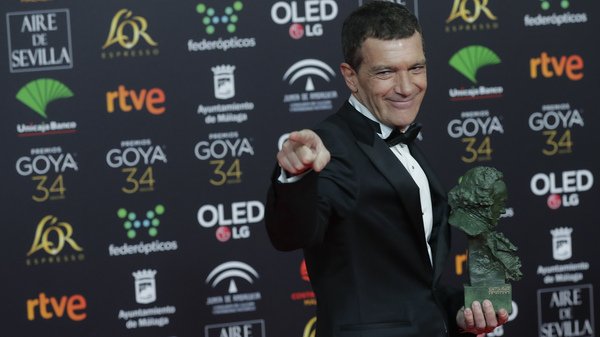 Spanish actor Antonio Banderas is photographed after winning the best leading actor award for Pain and Glory at the Spanish Film Academy