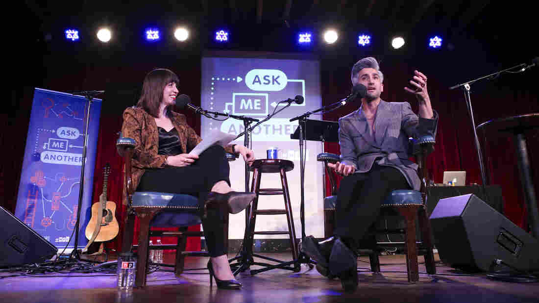 Ophira Eisenberg and Tan France on Ask Me Another at the Bell House in Brooklyn, New York.