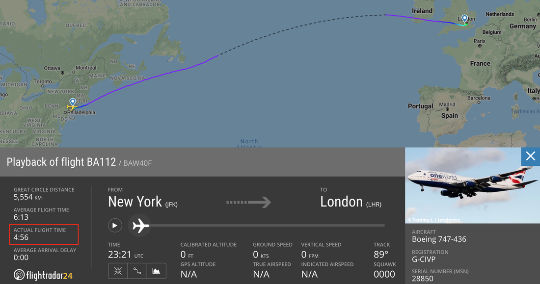 British Airways Sets Record, Crossing The Atlantic In Under 5 Hours In Strong Winds