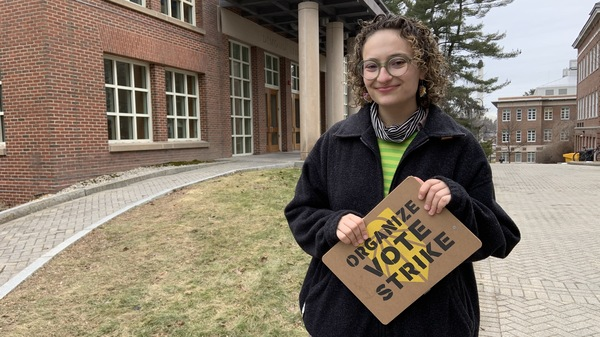 Olivia Freiwald, 20, of the New Hampshire Youth Movement and Sunrise Movement on the main campus of the University of New Hampshire. She