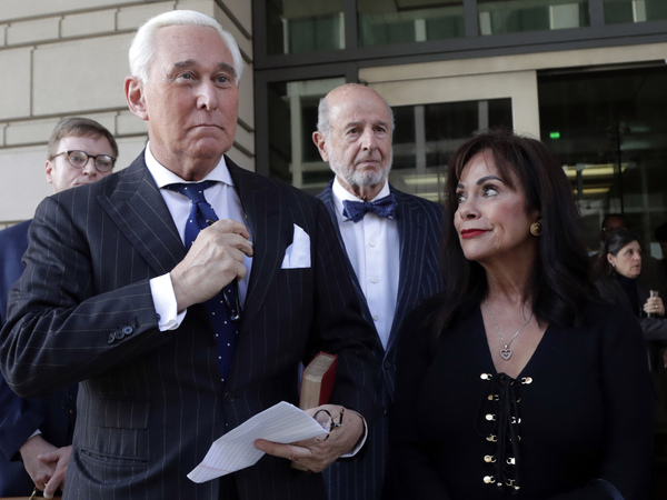 Roger Stone leaves federal court with his wife, Nydia Stone, on the day he was found guilty last fall.