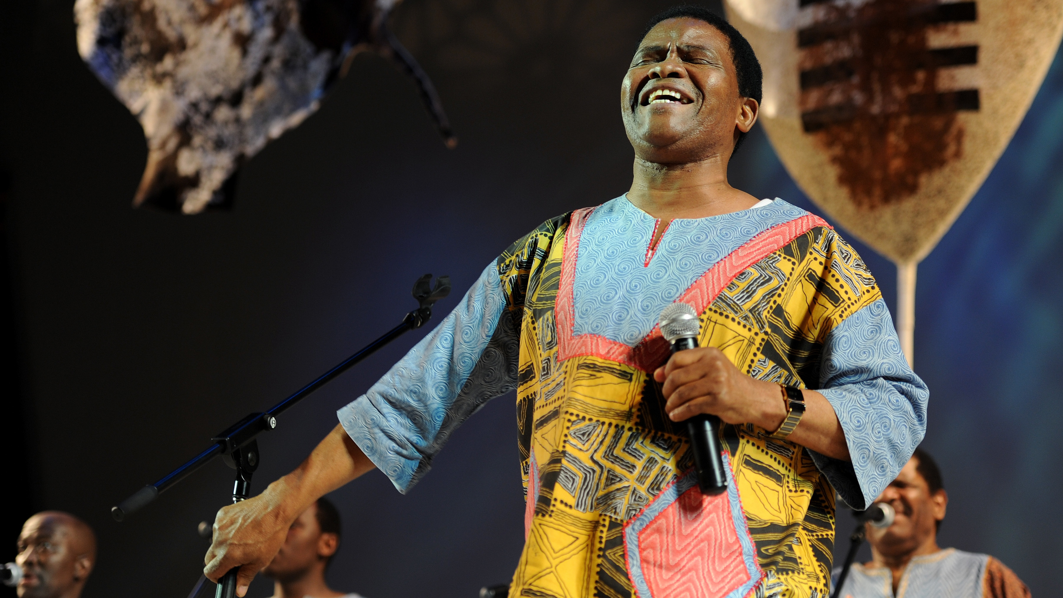 Joseph Shabala leads Ladysmith Black Mambazo in performance in 2011.