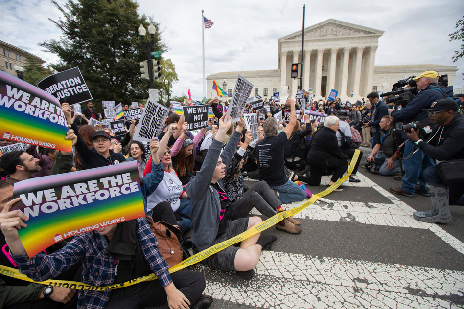 Supporters of LGBTQ rights took to the street in a demonstration in front of the U.S. Supreme Court last October. (Manuel Balce Ceneta/AP)