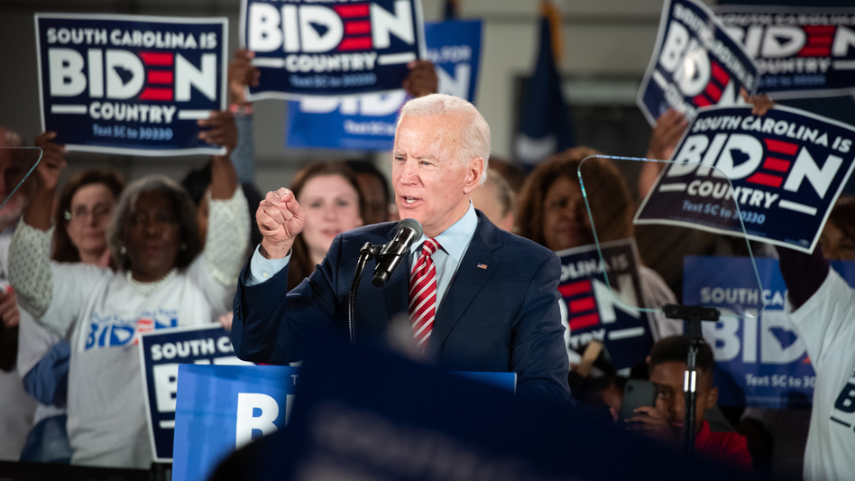 Democratic presidential candidate and former Vice President Joe Biden addresses supporters Tuesday night in Columbia, S.C. Biden skipped a primary night event in New Hampshire, expecting a poor showing. (Sean Rayford/Getty Images)