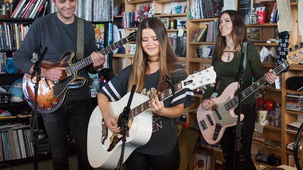 Maren Morris performs perform a Tiny Desk Concert on Feb. 16, 2017. (Claire Harbage/NPR)