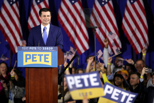 Pete Buttigieg speaks at his primary night watch party in Nashua, N.H. Buttigieg is the delegate leader in this race with 22 to Sanders' 21 — but there's a long way to go.