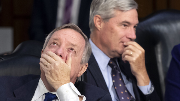 Sen. Dick Durbin, D-Ill.(left), and Sen. Sheldon Whitehouse, D-R.I., are among nine Democratic members of the Senate Judiciary Committee who signed a letter accusing the Trump administration of politicizing the immigration courts.