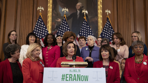 House Speaker Nancy Pelosi, D-Calif., speaks Wednesday at a press conference ahead of the House