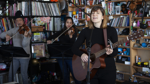 Laura Stevenson performs at a Tiny Desk Concert on Dec. 12, 2019. (Emily Bogle/NPR)