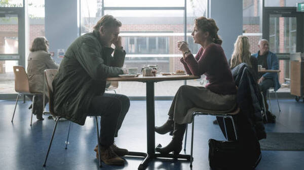 He has a very particular set of coping skills: Tom (Liam Neeson) and Joan (Lesley Manville) face her cancer diagnosis together in Ordinary Love.