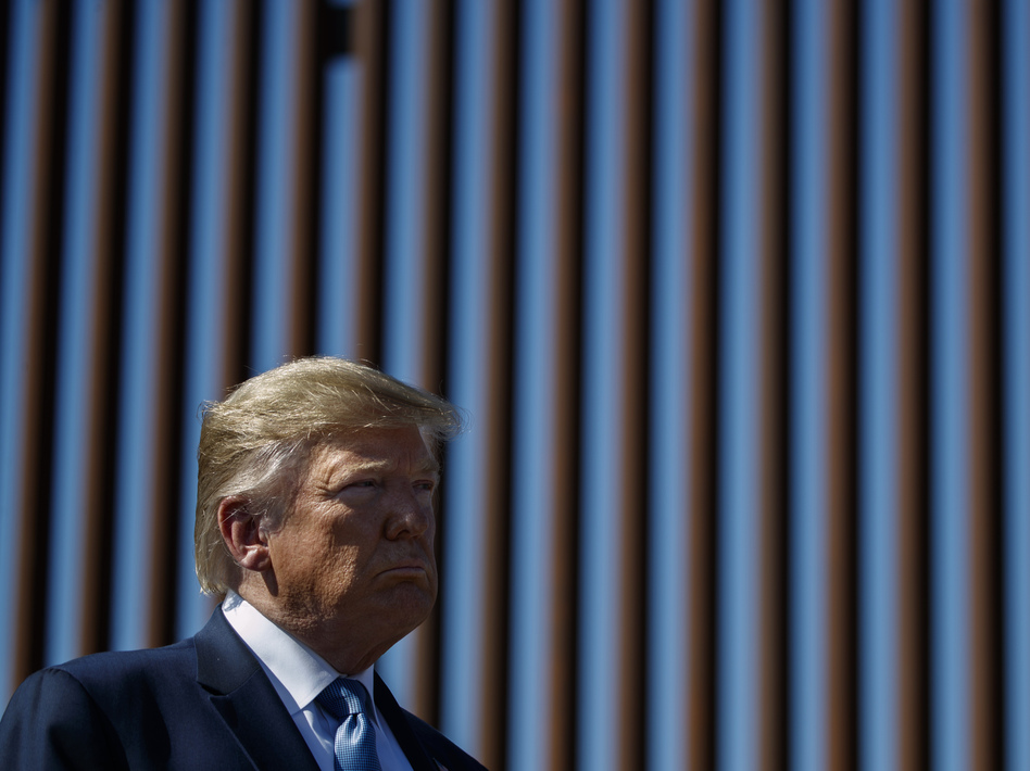 President Trump tours a section of the southern border wall in 2019, in Otay Mesa, Calif. (Evan Vucci/AP)