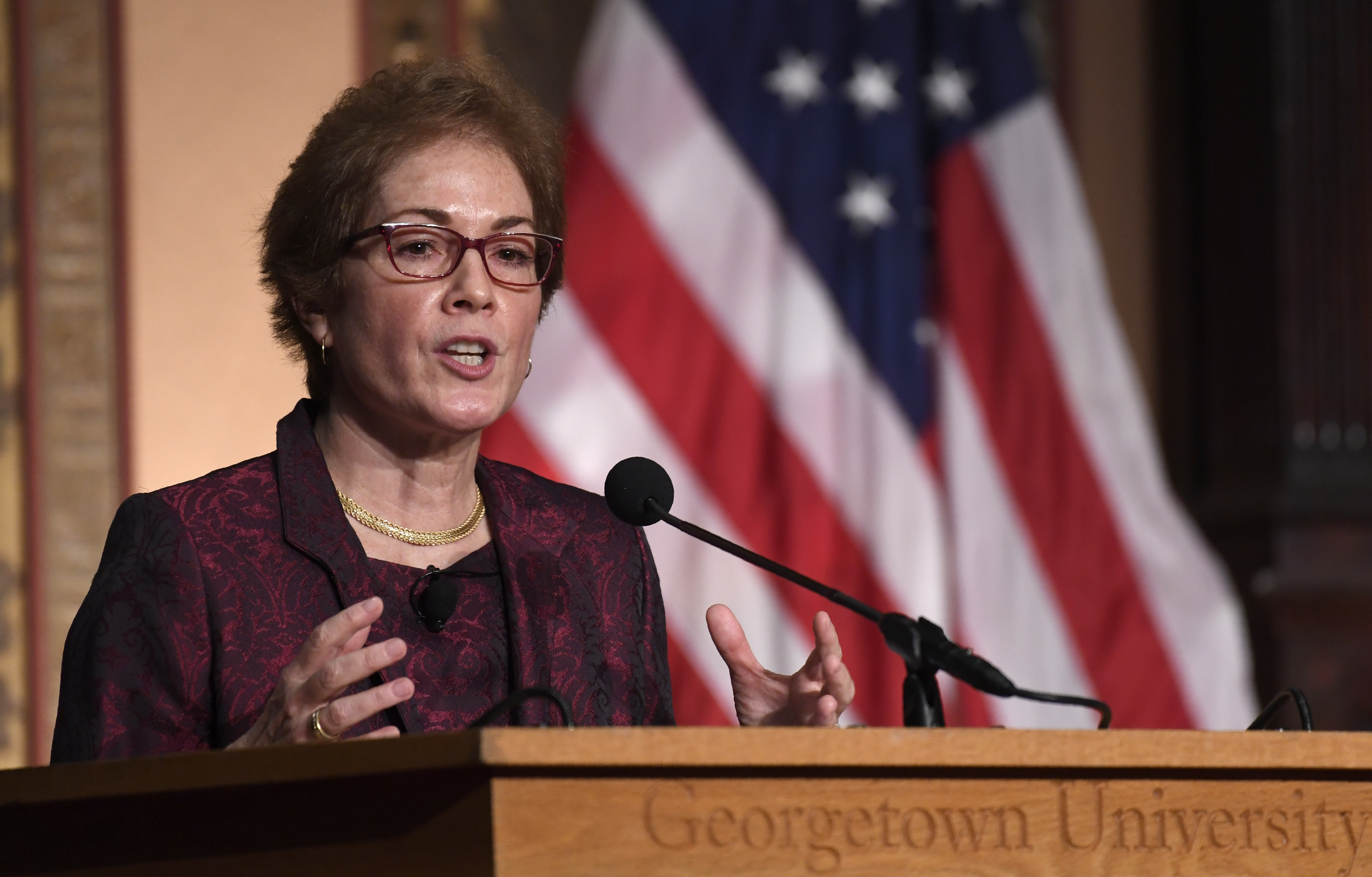 Former U.S. Ambassador to Ukraine Marie Yovanovitch speaks Wednesday at Georgetown University where she received the Trainor Award for excellence in diplomacy