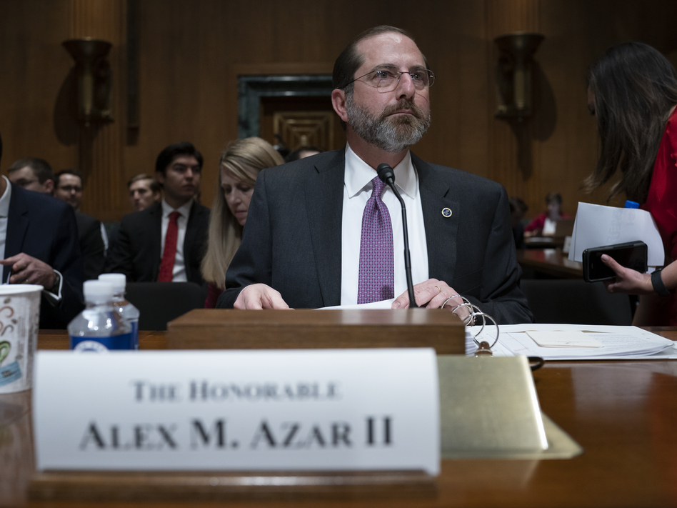 A federal appeals court has upheld a ruling that blocked work requirements in Arkansas and in Kentucky, which has since rescinded them. Secretary of Health and Human Services Alex Azar is seen testifying before the Senate Finance Committee on Thursday. (J. Scott Applewhite/AP)