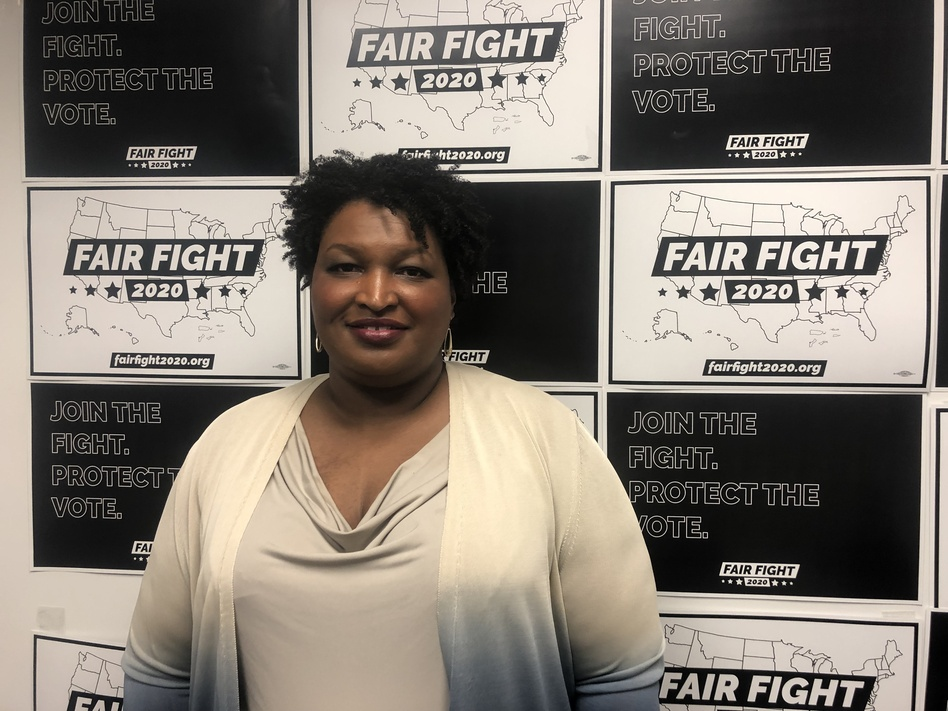 Stacey Abrams at Fair Fight's headquarters outside Atlanta. She's waging a voting rights campaign aimed at helping Democrats win in 18 battleground states. (Debbie Elliott/NPR)