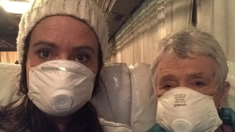 Australians Clare Hedger and her mother are now free from a two-week quarantine on the Diamond Princess cruise ship in Yokohama, Japan. Health officials in Japan are being sharply criticized for their handling of the coronavirus quarantine on the ship. (Clare Hedger/via Reuters)