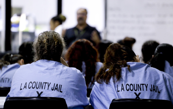 Inmates listen during a program at the Twin Towers Correctional Facility on April 27, 2017, in Los Angeles. In the past decade, the number of inmates housed here has skyrocketed.