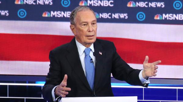 Former New York Mayor Mike Bloomberg speaks during the Democratic presidential debate in Las Vegas, Nev., Wednesday night.