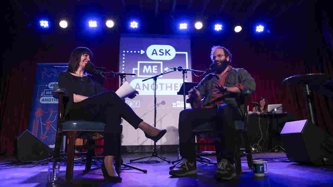 Ophira Eisenberg and Ben Sinclair on Ask Me Another at the Bell House in Brooklyn, New York.