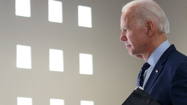 Former Vice President Joe Biden departs after speaking Thursday in Las Vegas.