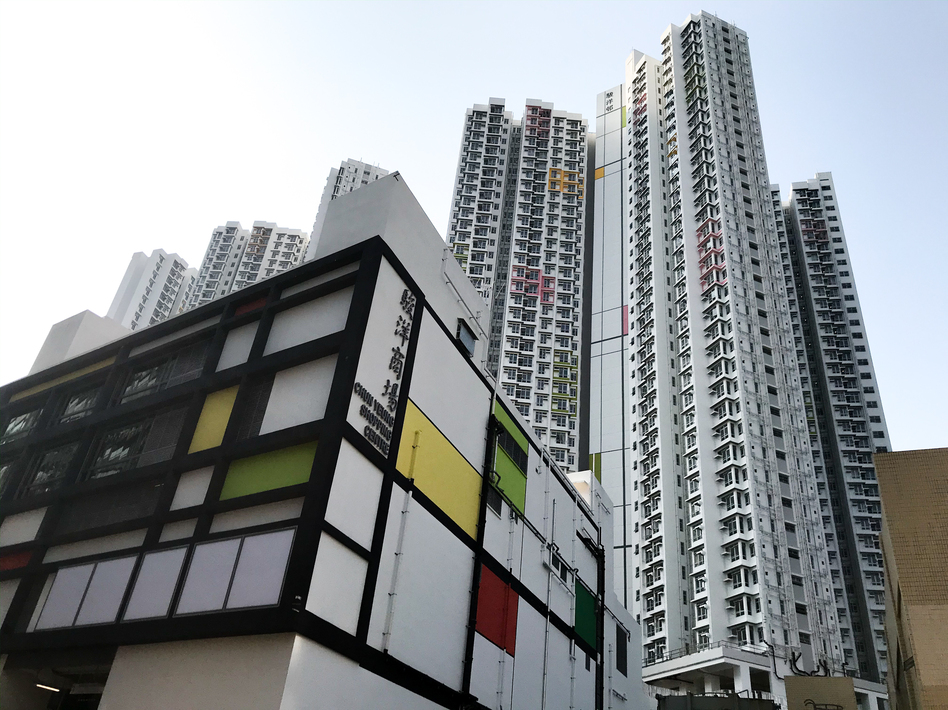 A new apartment complex in Hong Kong, called the Chun Yeung Estate, is being turned into a quarantine center. (Jason Beaubien/NPR)