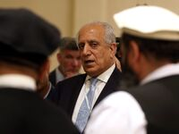 U.S. Special Representative for Afghanistan Reconciliation Zalmay Khalilzad attends the Intra-Afghan Dialogue talks in the Qatari capital, Doha, in July.