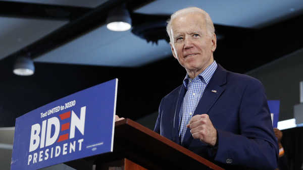 Former Vice President Joe Biden speaks during a caucus night event Saturday in Las Vegas.