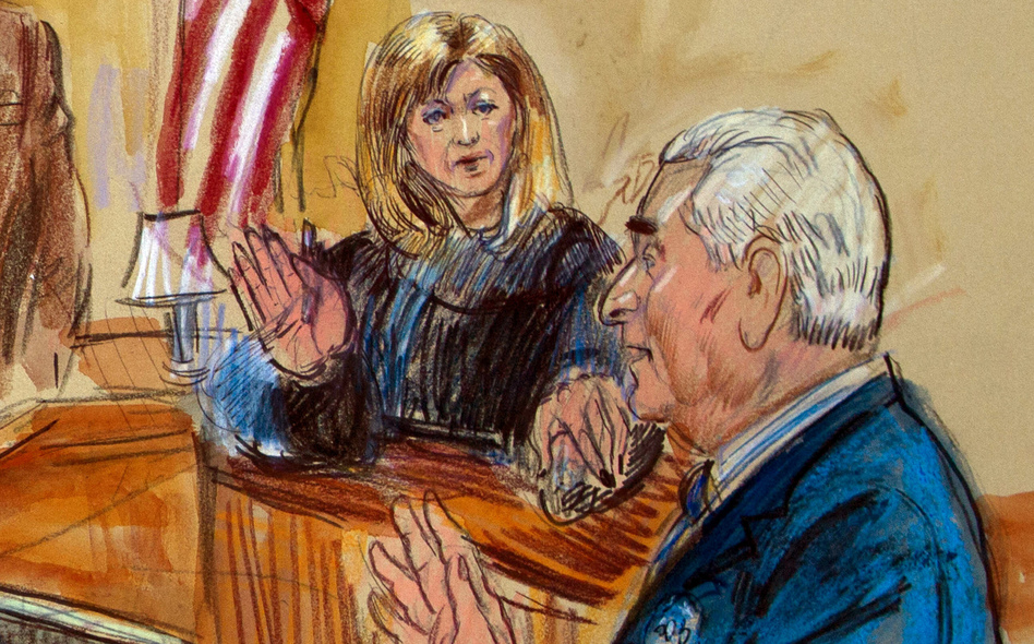 """Judge Amy Berman Jackson, shown in a courtroom sketch, has been at the center of a series of high-profile Russia cases — most recently, one involving self-proclaimed """"dirty trickster"""" Roger Stone. (Dana Verkouteren/AP)"""