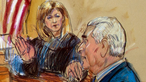 """Judge Amy Berman Jackson, shown in a courtroom sketch, has been at the center of a series of high-profile Russia cases — most recently, one involving self-proclaimed """"dirty trickster"""" Roger Stone."""