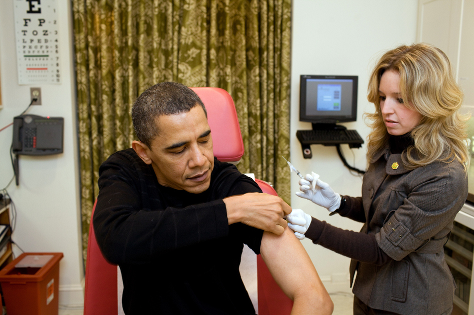 During the H1N1 swine flu pandemic, President Barack Obama was vaccinated by a White House nurse. It took a little more than five months from the discovery of the virus to develop a vaccine. (Pete Souza/AP)