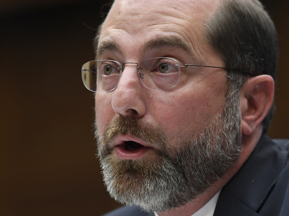 Health and Human Services Secretary Alex Azar testifies before a House Commerce subcommittee on Capitol Hill in Washington, on Wednesday. Azar has been leading the White House coronavirus task force. (Susan Walsh/AP)