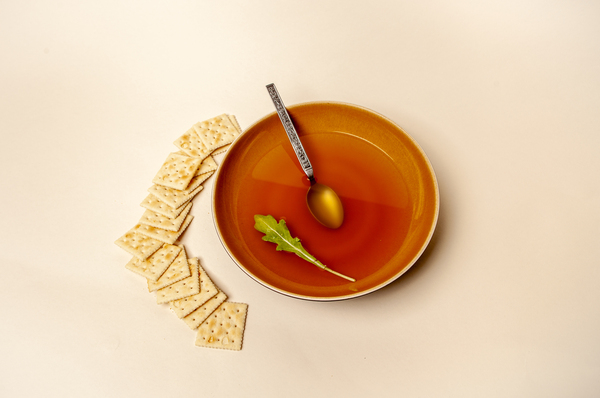 Soup and crackers.