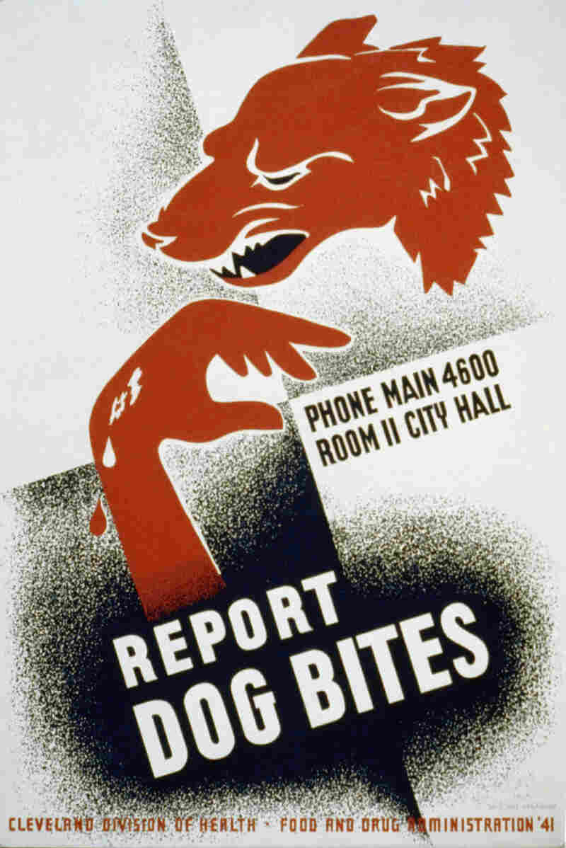 A poster dated March 13th, 1941 for the Cleveland Division of Health encouraging dog bite victims to report dog bites to the proper authorities, showing dog and injured hand.