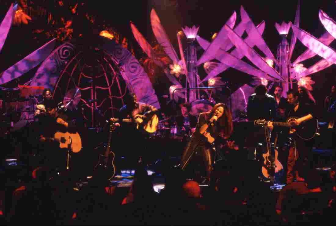 Shakira onstage during her MTV Unplugged performance.